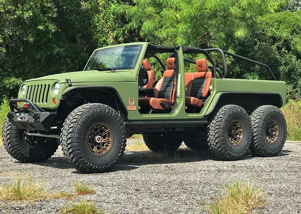 Bruiser Conversions 6x6 je šestikolový Jeep Wrangler pick-up s osmiválcem GM