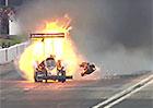 Z pekla štěstí: Za zády mu explodoval motor dragsteru, přesto odešel po svých